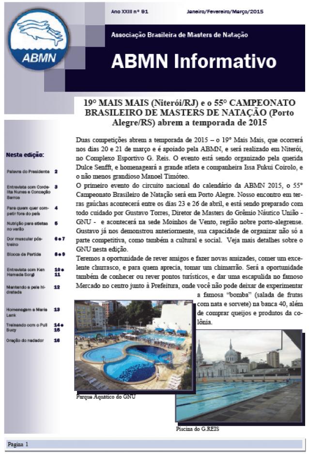 Associação Brasileira de Masters de Natação   Informativo ABMN