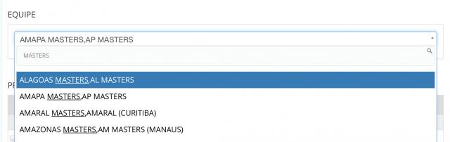 Resultados de busca por equipes na inscrição on-line da ABMN